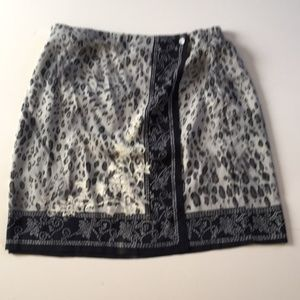 Requirements Wrap Skirt Floral Animal Print Size L